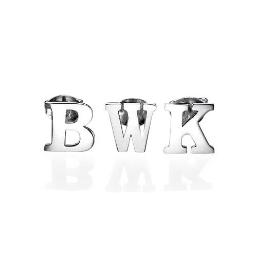 Print Initial Stud Earrings in Silver - 1
