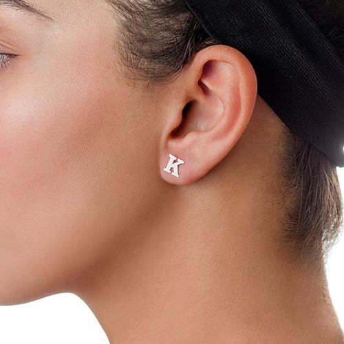Print Initial Stud Earrings in Silver - 2