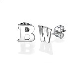 Print Initial Stud Earrings in Silver