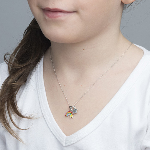 Rainbow Necklace for Kids with Initial Charm - 2