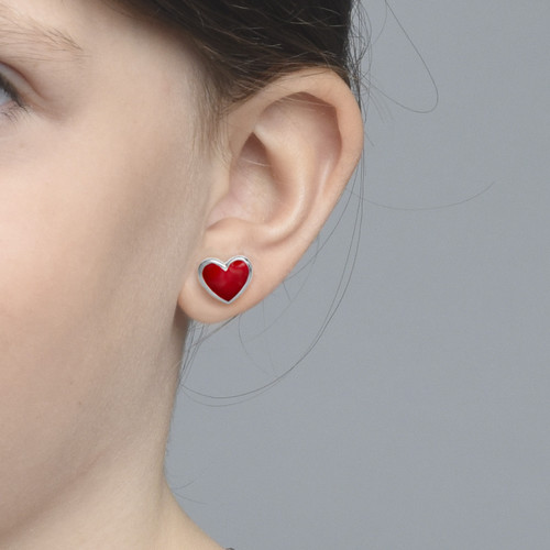 Red Heart Earrings for Kids - 1