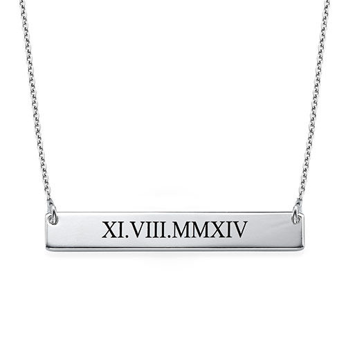 Roman Numeral Bar Necklace Mynamenecklace Uk