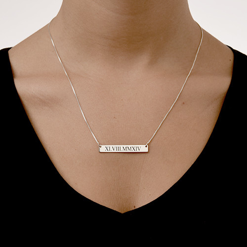 Roman Numeral Bar Necklace - 1