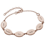 Rose Gold Plated Mum Bracelet with Kids Names - Oval Design
