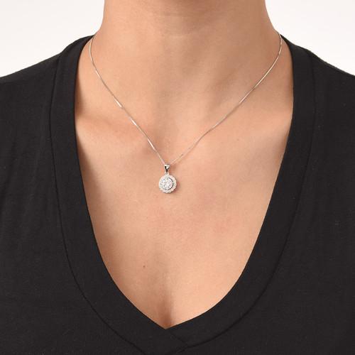 Round Cubic Zirconia Necklace - 1