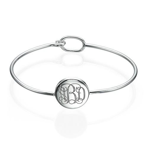Round Monogram Bangle Bracelet in Silver