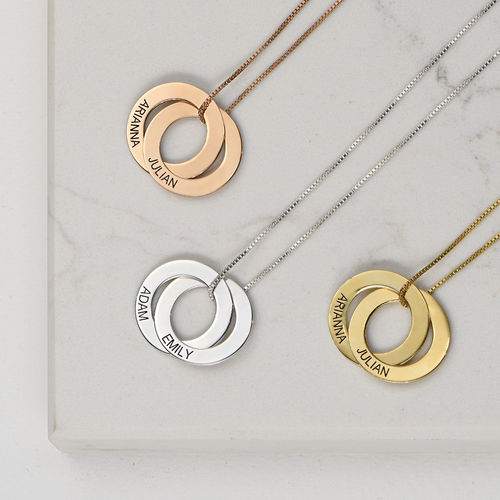 Russian Ring Necklace with 2 Rings - Rose Gold Plated - 2