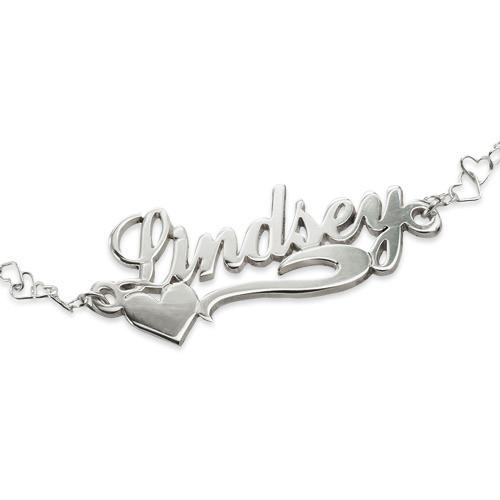 Side Heart Silver Name Bracelet - 1