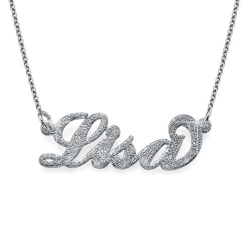 Sparkling Diamond-Cut Silver Carrie Name Necklace