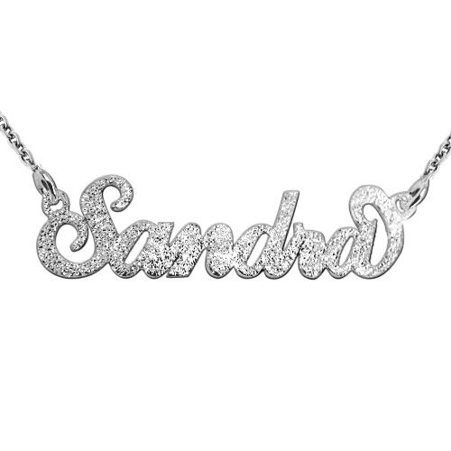 Sparkling Diamond-Cut Silver Carrie Name Necklace - 1