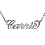 Silver Carrie Name Necklace with Rollo Chain
