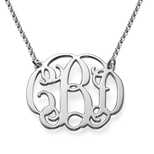Silver Celebrity Style Monogram Necklace