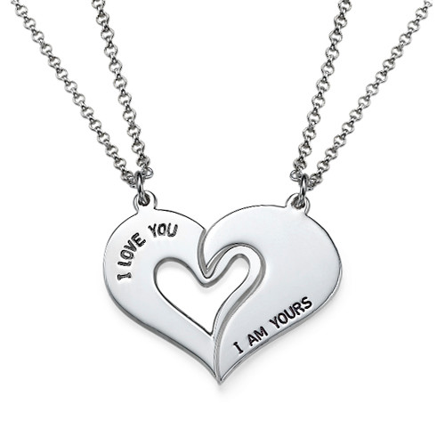Silver Couples Breakable Heart Necklace - 1