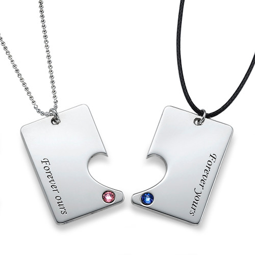 Silver Couples Dog Tag Necklace Set