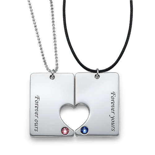 Silver Couples Dog Tag Necklace Set - 1