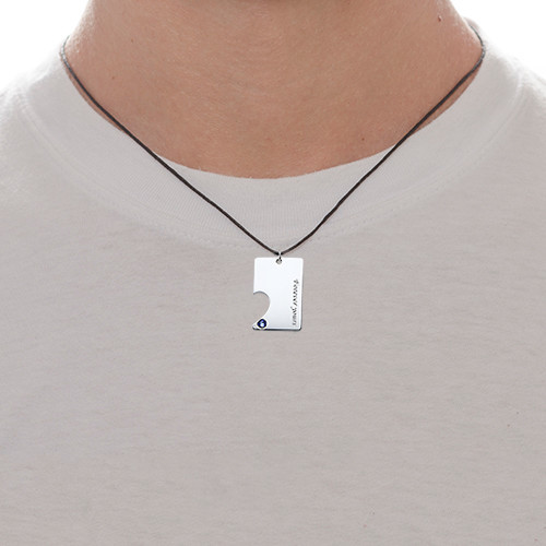 Silver Couples Dog Tag Necklace Set - 2