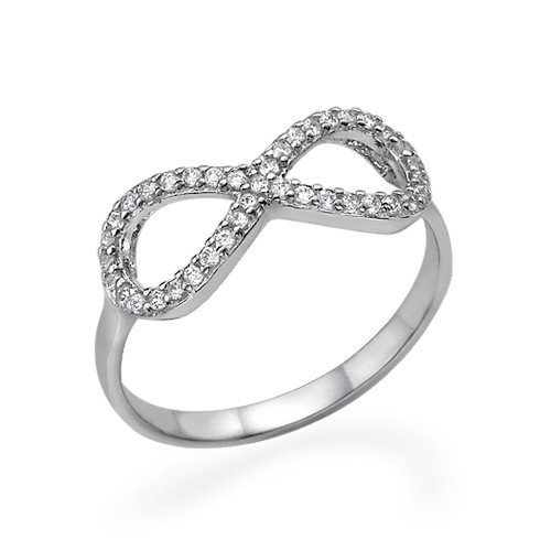 Silver Cubic Zirconia Encrusted Infinity Ring