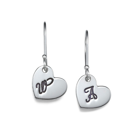 Silver Dangling Heart Earrings with Initial