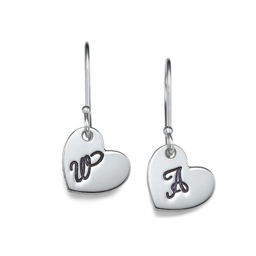 Silver Dangling Heart Earrings with Initial