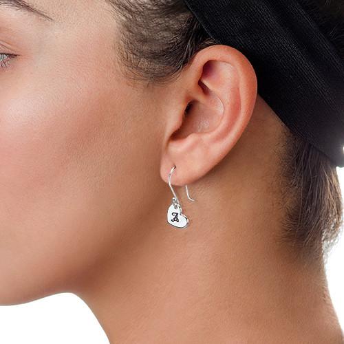 Silver Dangling Heart Earrings with Initial - 1
