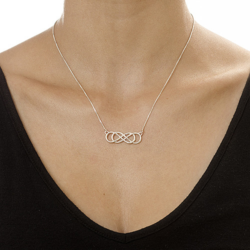 Silver Double Infinity Necklace - 1