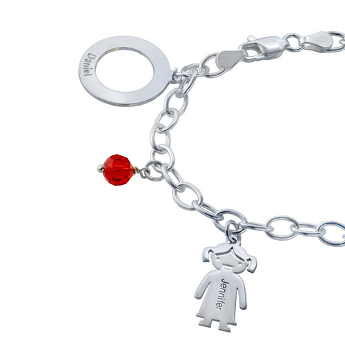 Silver Engraved Charm Mother Bracelet - 1