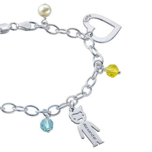 Silver Engraved Charm Mother Bracelet - 2