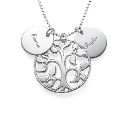 Silver Necklace with Engraved Discs - 1