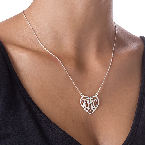 Silver Heart Initials Necklace - 1