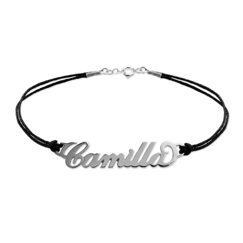 Silver Name Bracelet with Leather Style Cord