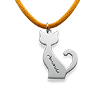 Silver Personalised Cat Necklace
