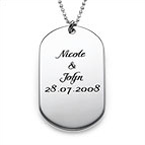 Silver Script Font Dog Tag Necklace