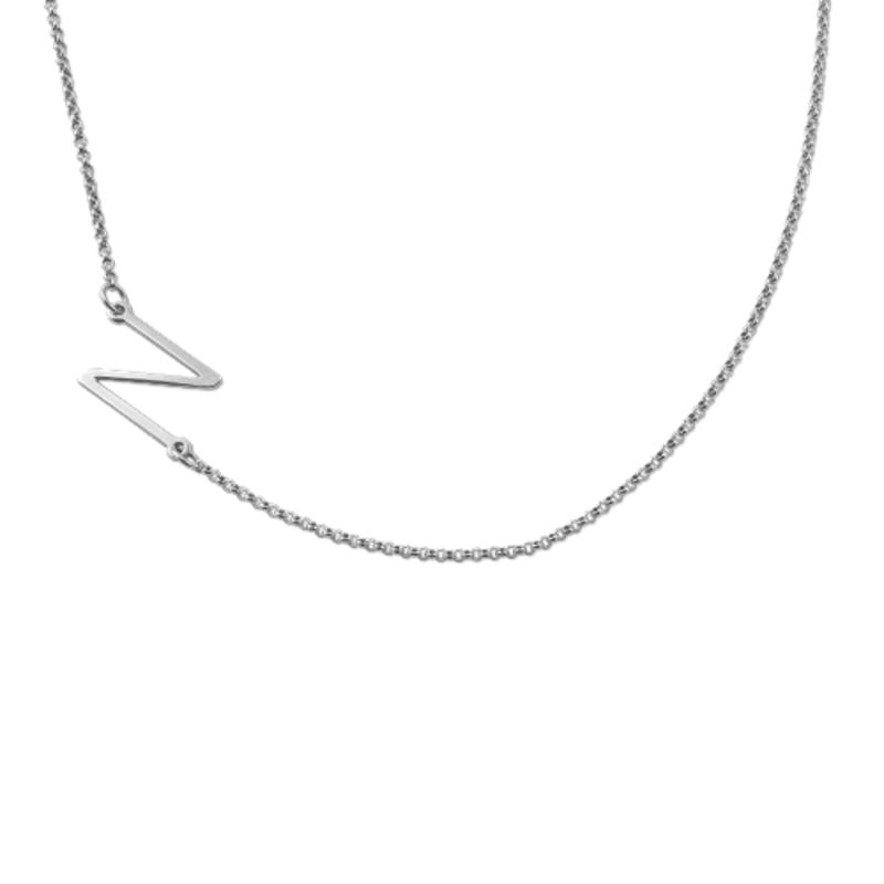 Silver Side Initial Necklace