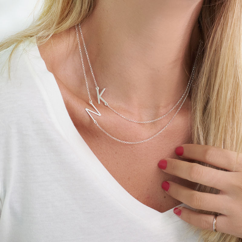 Silver Side Initial Necklace - 2