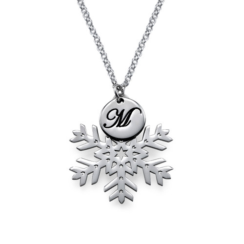 Silver Snowflake Necklace with Initial - 1