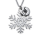 Silver Snowflake Necklace with Initial