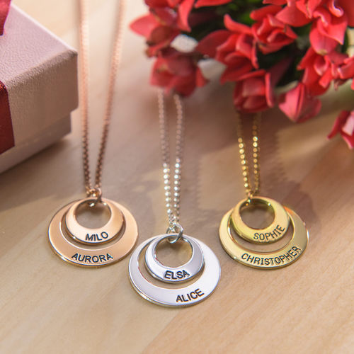 Silver Two Disc Engraved Mother's Necklace - 3