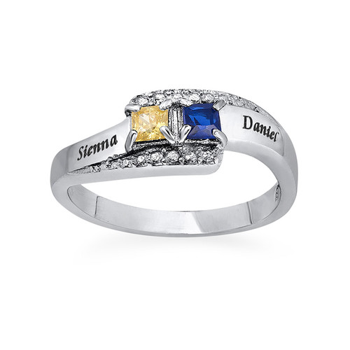 Sparkling Two Birthstone Ring with Engraving - 1