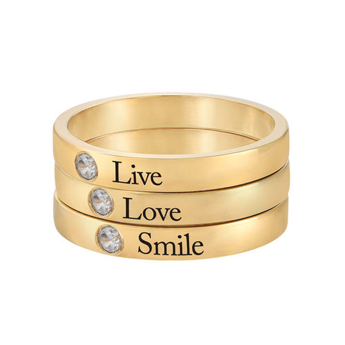 Stackable Birthstone Name Ring - 14ct Yellow Gold - 3