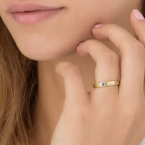 Stackable Birthstone Name Ring - 14ct Yellow Gold - 5