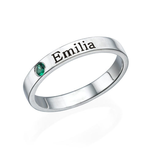Stackable Birthstone Name Ring