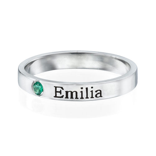 Stackable Birthstone Name Ring - 1
