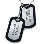Stainless Steel Personalised Dog Tag with Two Tags