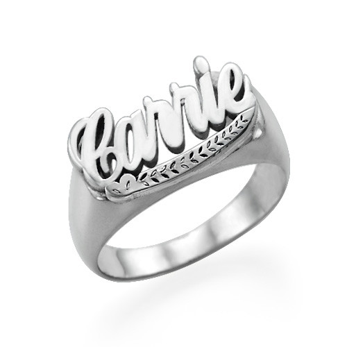 "Sterling Silver ""Carrie"" Name Ring"