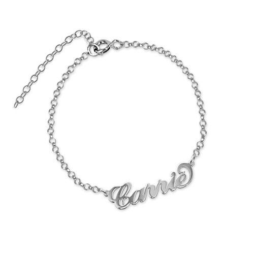 """Sterling Silver """"Carrie"""" Name Bracelet / Anklet"""