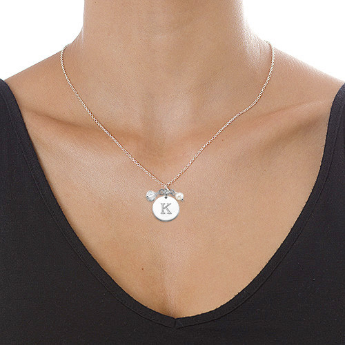 Sterling Silver Charm Initial Pendant - 1