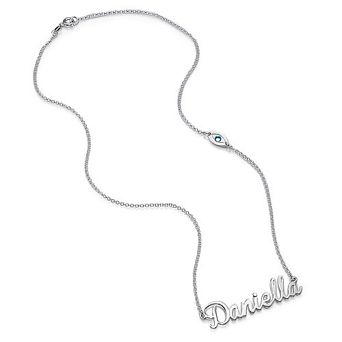 Sterling Silver Charm Name Necklace - 1
