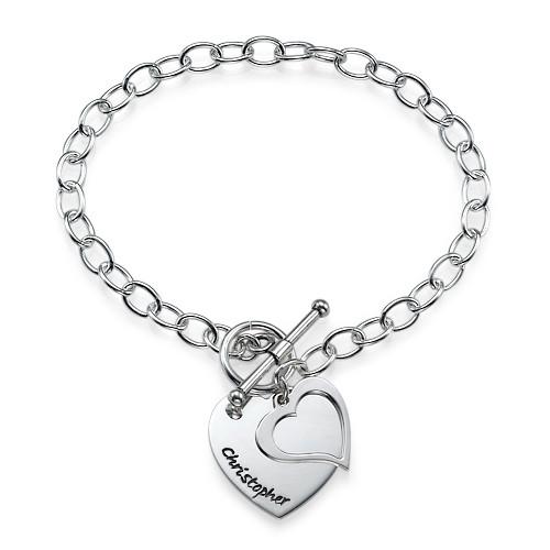Sterling Silver Double Heart Charm Bracelet
