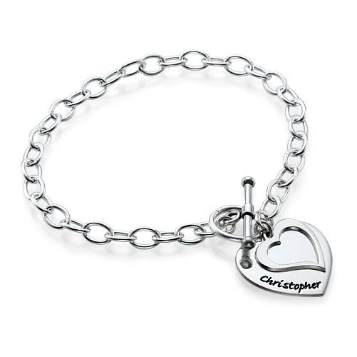 Sterling Silver Double Heart Charm Bracelet - 1
