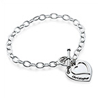 Sterling Silver Double Heart Charm Bracelet